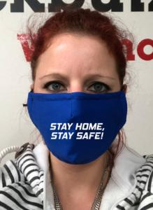 Maske - Royalblau Stay Home Stay Safe