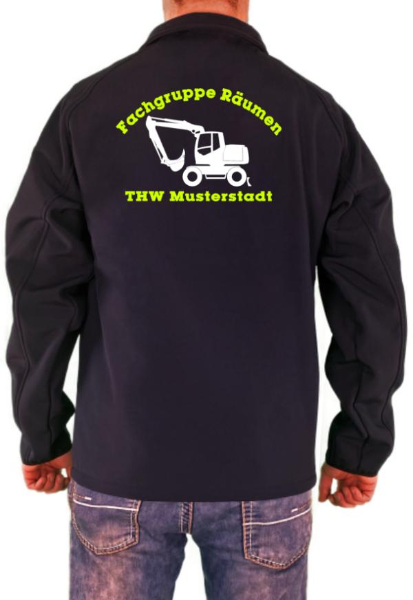 Softshelljacke THW Fachgruppe Räumen Bagger Neongelb Weißes Logo