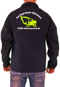 Softshelljacke THW Fachgruppe Räumen Bagger Neongelbes Logo