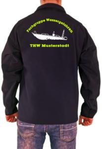 Softshelljacke THW Fachgruppe Räumen Finjet Neongelb Weißes Logo