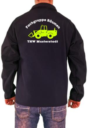 Softshelljacke THW Fachgruppe Räumen Radlader Neongelbes Logo