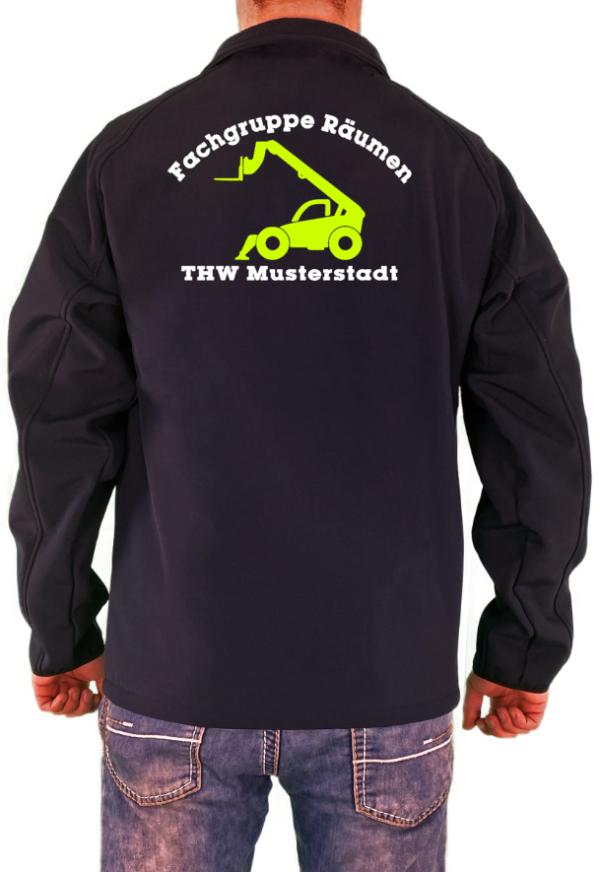 Softshelljacke THW Fachgruppe Räumen Teleskoplader Telelader Neongelbes Logo