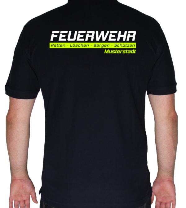 Poloshirt Feuerwehr -Retten-Löschen-Bergen-Schützen mit Ortswehr
