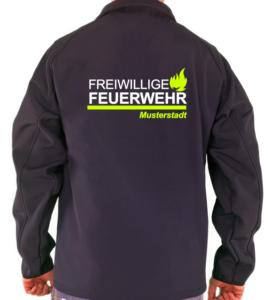 Softshelljacke Feuerwehr Flamelayout Weiß Neon