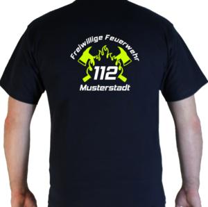 T-Shirt 112 mit Feuerwehr, Ortswehr, Flamme und Axtdesign