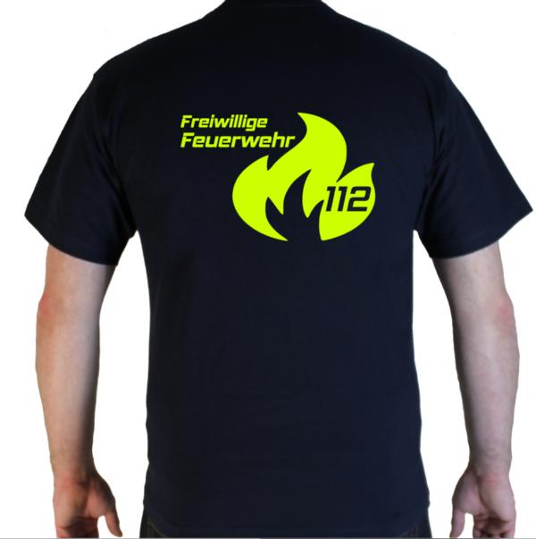T-Shirt Feuerwehr Flamme Groß mit FFW