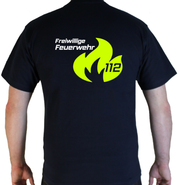 T-Shirt Feuerwehr Flamme Groß mit weiß FFW